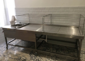 Washing Table fabricated and pressed in 316 Stainless Steel for a Mosque in Luton.
